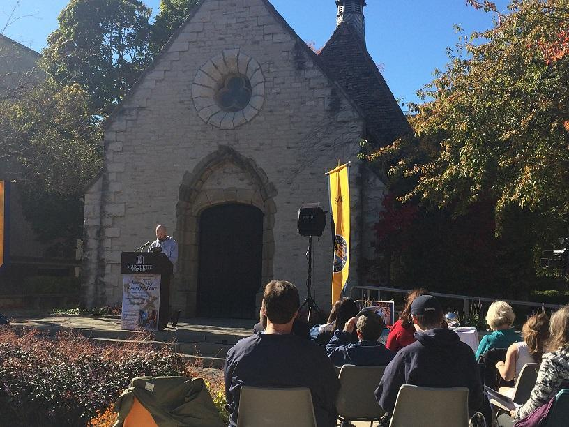 The rosary for peace was held at the St. Joan of Arc chapel. Photo by Julie Grace /julie.grace@marquette.edu