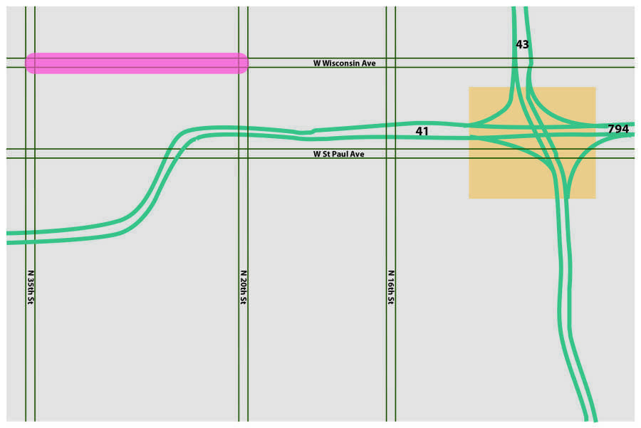 Construction of the Marquette Interchange is scheduled for fall of 2017, highlighted in yellow. The pink line shows the construction set for 2018.