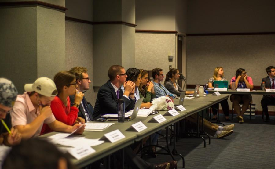 Kelsey Otero and Nicholas Santos of the Social Innovation Initiative announced their goal at Monday's MUSG senate meeting. Photo by Nolan Bollier / nolan.bollier@marquette.edu