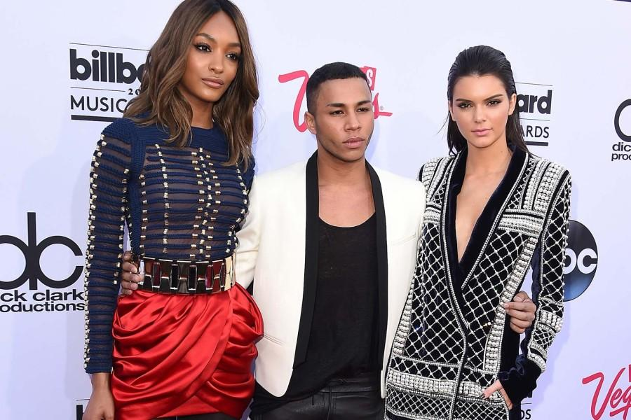 Olivier+Rousteing%2C+Balmain%27s+creative+director%2C+poses+with+Kendall+Jenner+and+Jourdan+Dunn%2C+following+the+announcement+of+the+Balmain+and+H%26M+collaboration