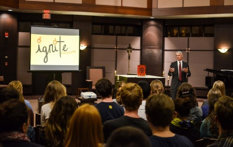 President Lovell speaks to students at an Ignite meeting. Photo by Matt Serafin /matthew.serafin@marquette.edu