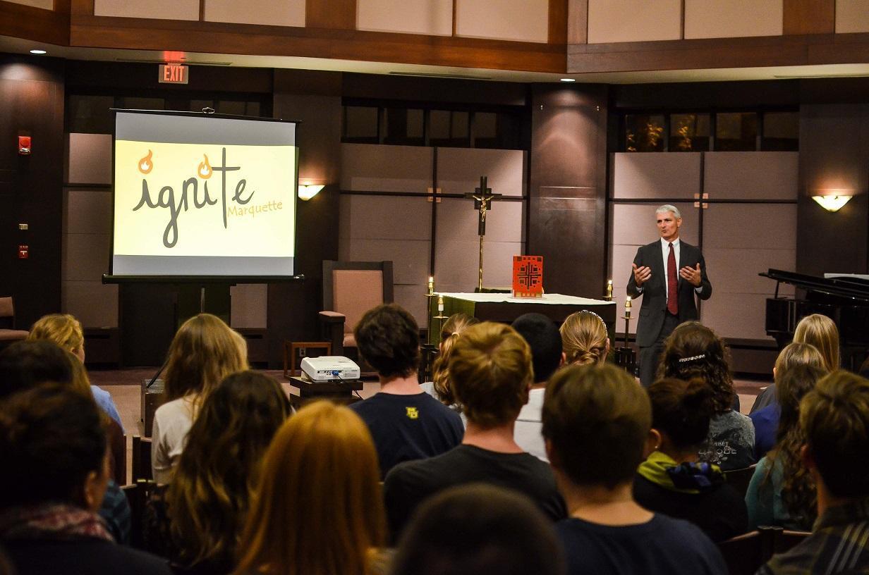 President Lovell speaks to students at an Ignite meeting. Photo by Matt Serafin /matthew.serafin@marquette.edu