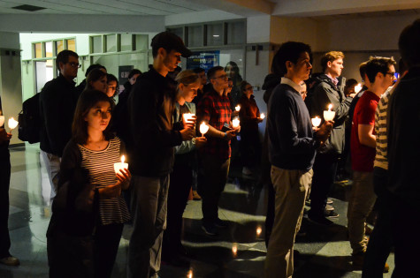 Students at the vigil, held on the first floor of the Alumni Memorial Union. Photo by Matt Serafin /matthew.serafin@mu.edu