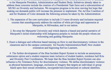 Marquette has addressed some demands from the Ad Hoc Coalition of and for Students of Color