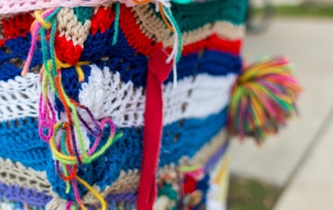 Two knitters spreading color on campus with yarn bombs