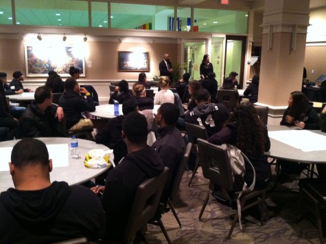 Students discuss ideas in small groups in the Alumni Memorial Union. Photo by Clara Hatcher /clara.hatcher@mu.edu