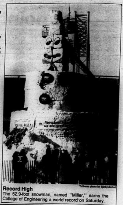 Students and faculty built the snowman as part of Winter Funfest in Feburary 1988. Photo via Raynor Memorial Archives' February 16, 1988 issue of The Marquette Tribune.