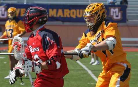 Liam Byrnes is the program leader in loose balls and forced turnovers (Photo by Alicia Mojica/Marquette Images)