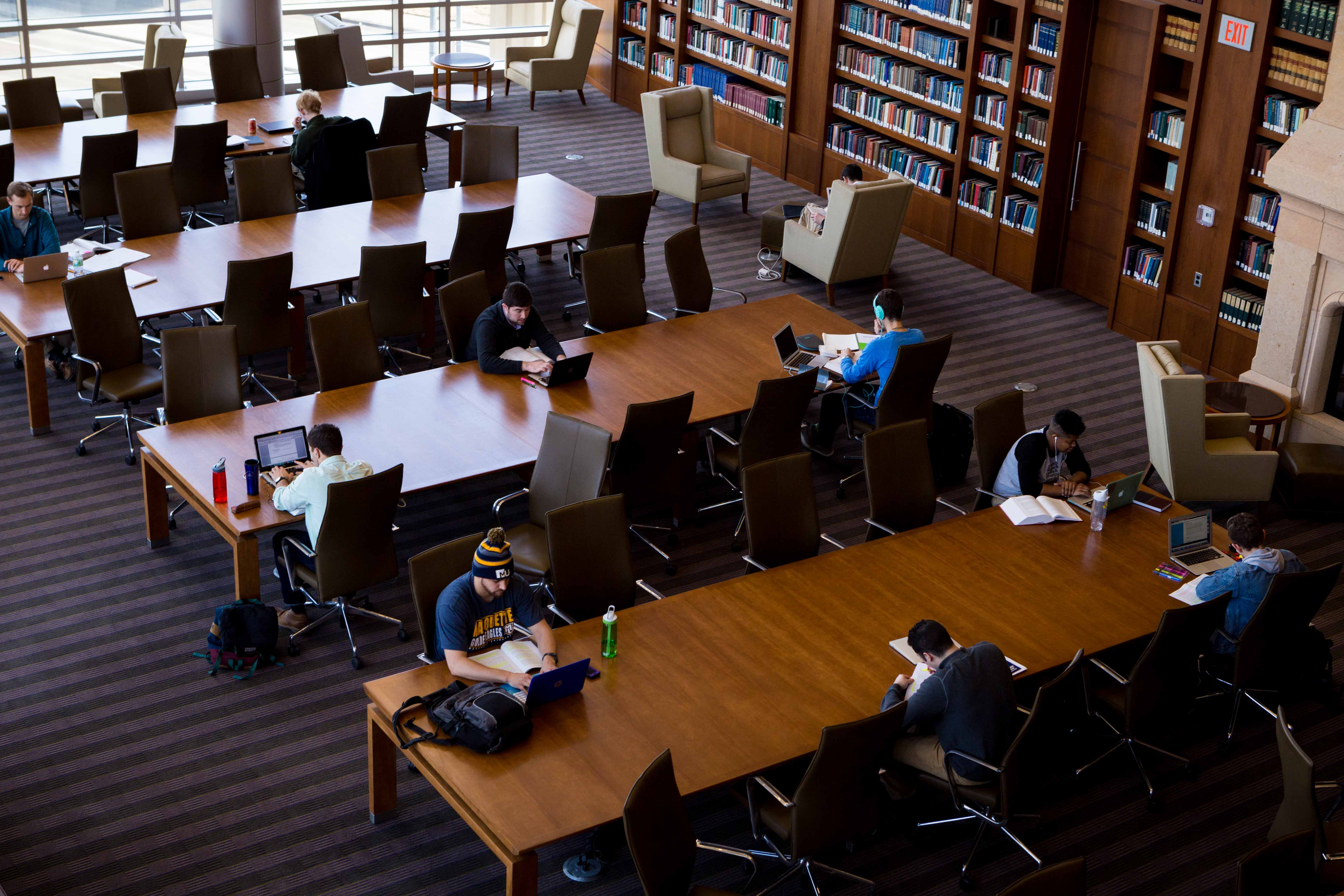 Marquette law students study in the reading room of Eckstein Hall.