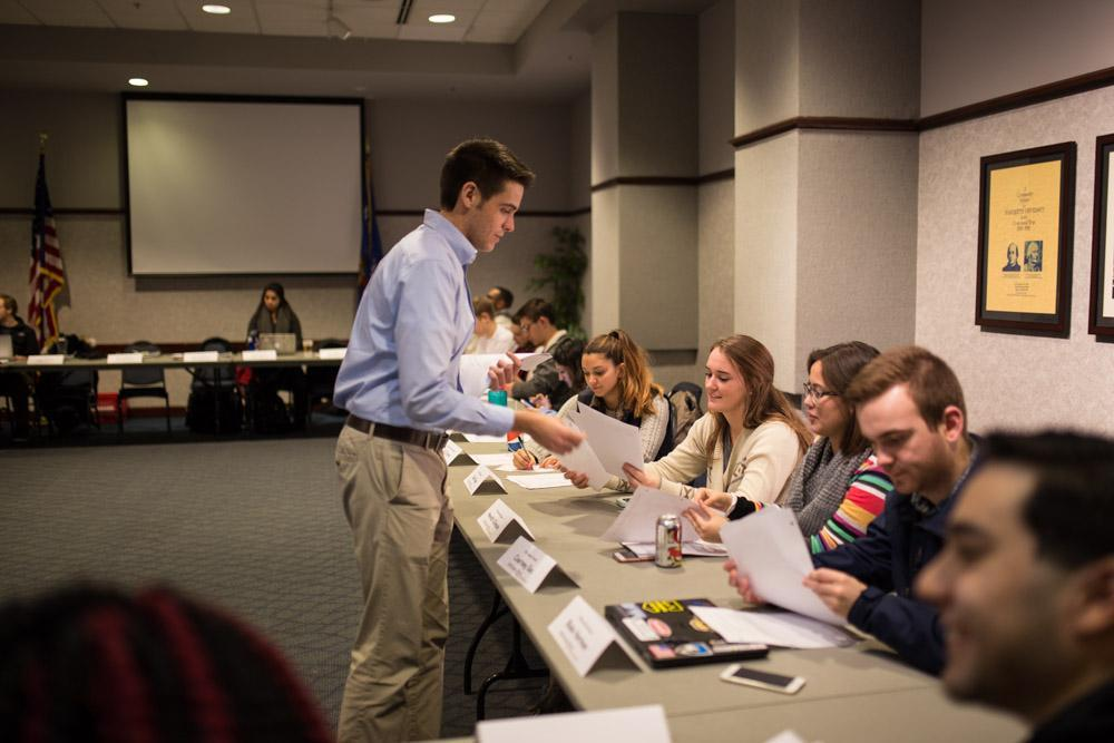 MUSG President Zack Wallace and members of the MUSG Senate. Photo by Maryam Tunio /maryam.tunio@marquette.edu