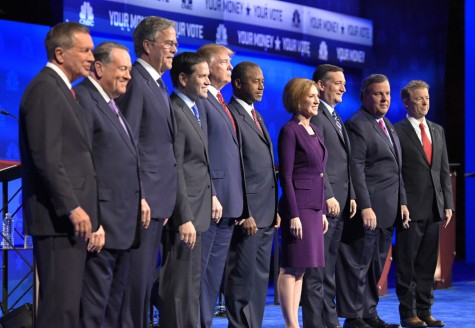Republican presidential candidates, from left, John Kasich, Mike Huckabee, Jeb Bush, Marco Rubio, Donald Trump, Ben Carson, Carly Fiorina, Ted Cruz, Chris Christie, and Rand Paul take the stage during the CNBC Republican presidential debate at the University of Colorado, Wednesday, Oct. 28, 2015, in Boulder, Colo. (AP Photo/Mark J. Terrill) ORG XMIT: OTK