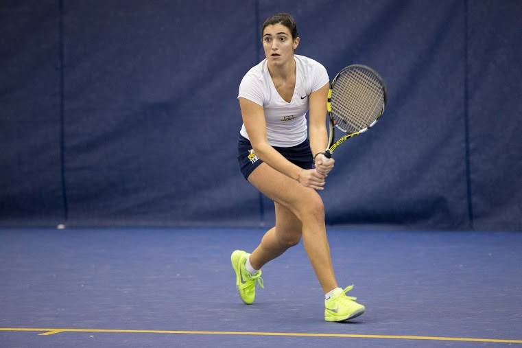 Freshman Silvia Ambrosio is riding a seven-match win streak at No. 1 singles. Photo by Ben Erickson/benjamin.a.erickson@marquette.edu