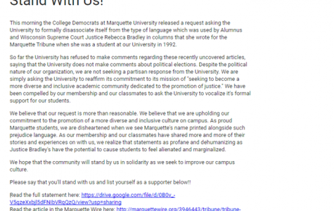 The petition was created and sent out to the university by the College Democrats in hopes of getting Marquette to disassociate from alumna Rebecca Bradley. Photo via Google Docs