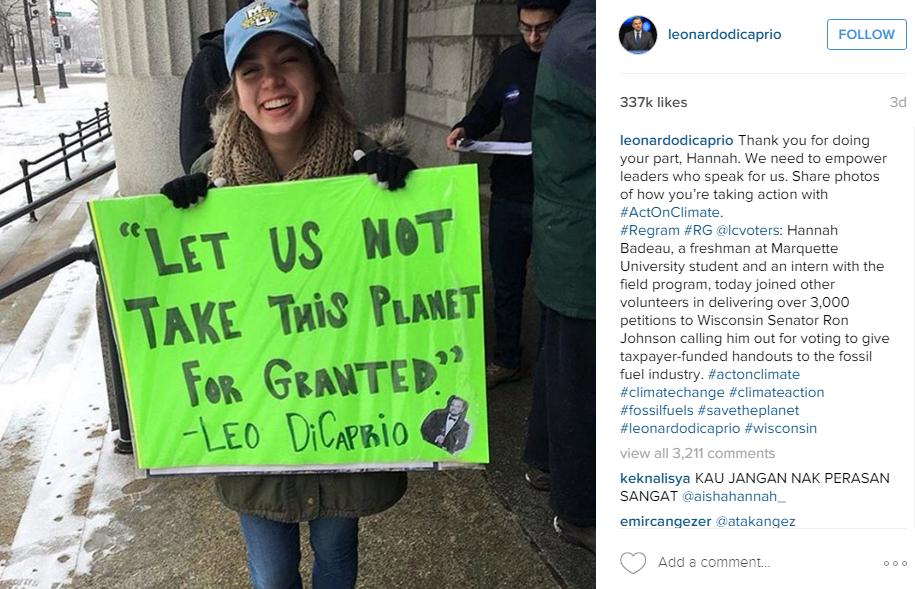 The photo featured freshman Hannah Badeau standing outside Photo via Leonardo Dicaprio's Instagram: https://www.instagram.com/leonardodicaprio/?hl=en