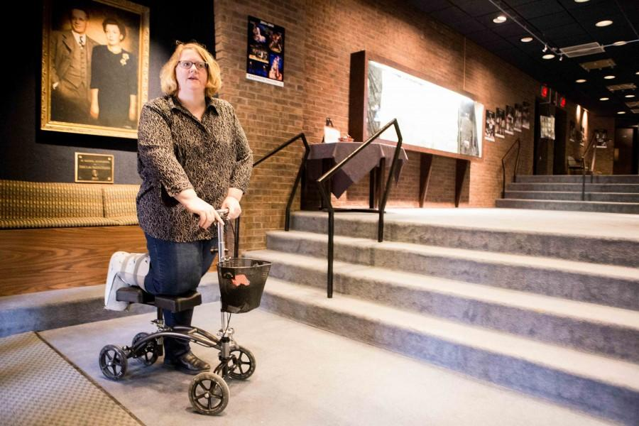 Connie Petersen at the foot of the stairs in Helfaer Theater, a difficult challenge for a non able-bodied person.