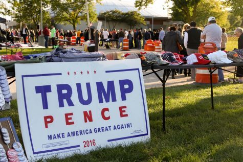Trump supporters line up to see him at the Waukesha Expo Center.