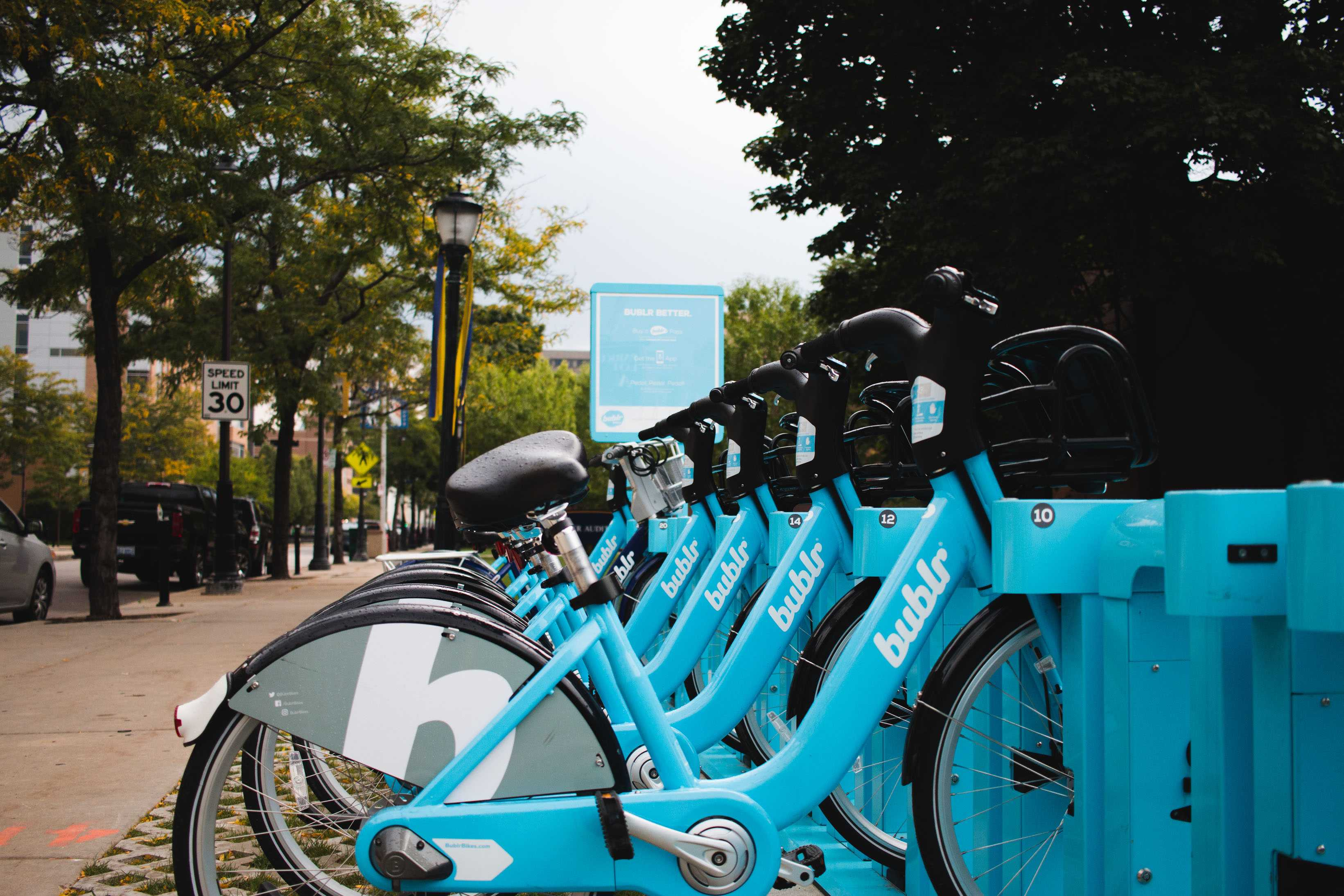 The Bublr bikes are popular among students looking to quickly and easily get around.