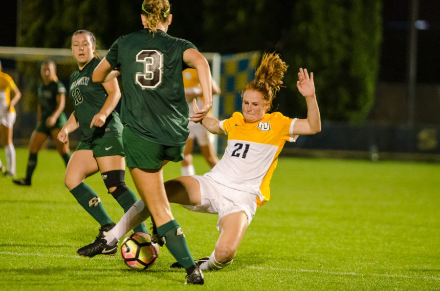 Carrie Madden scored her first goal of the season to give Marquette the 3-2 lead.