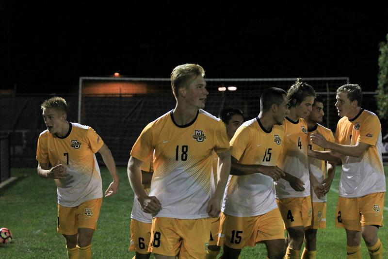 Patrick+Seagrist+%28left%29+scored+his+first+collegiate+goal+in+the+51st+minute.