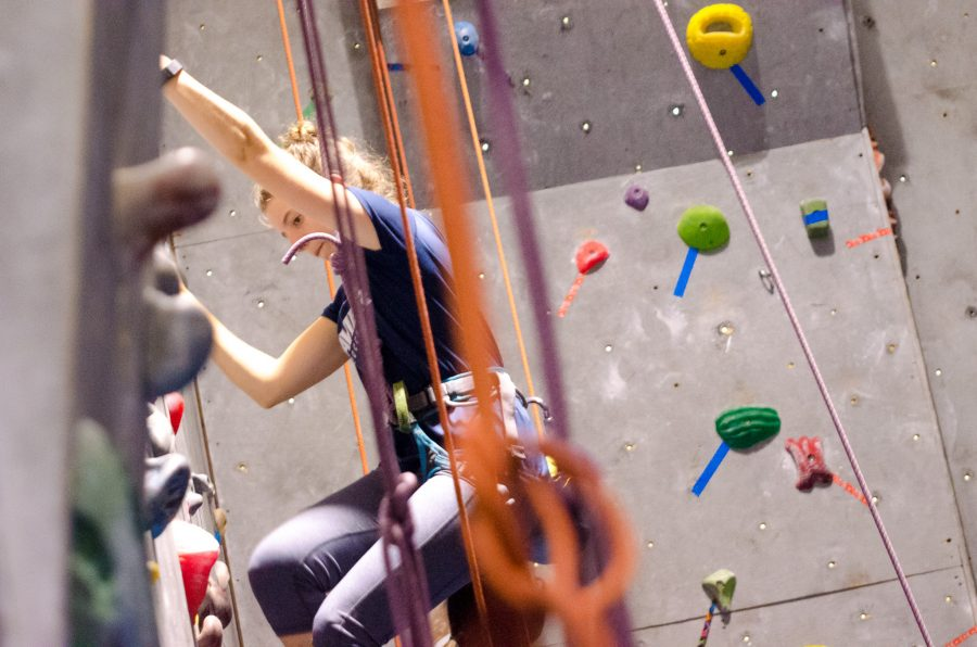 Jessica+Taylor%2C+a+graduate+student%2C+is+one+of+a+large+contingent+that+is+taking+up+rock+climbing.