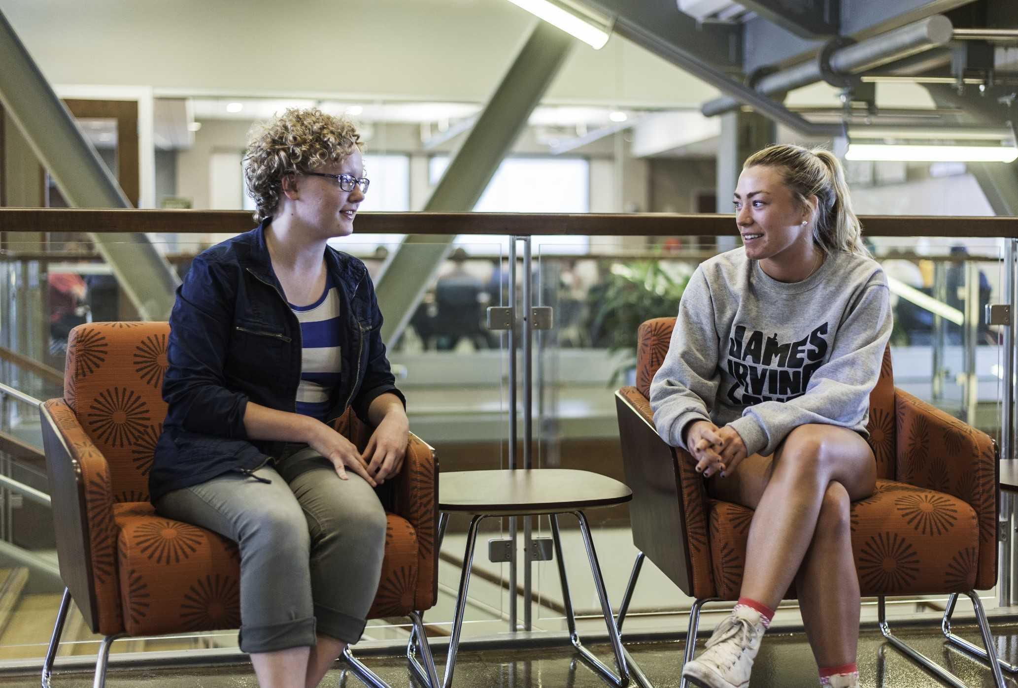 Karlie Hornberger (left) and Maureen Mikkelsen (right) worked together on a project to get more girls interested in STEM.