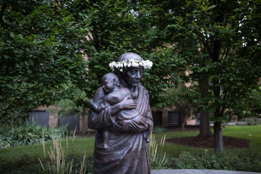 The Saint Mother Teresa statue was unveiled on campus in 2009. Photo by Maryam Tunio/maryam.tunio@marquette.edu