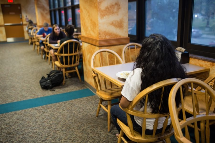 Students should not feel self-conscious about eating alone in the dining halls.