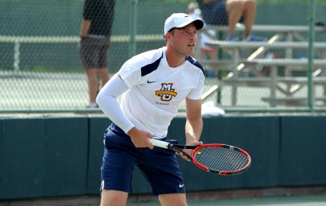 Mackenzie Stearns lost his first match of the weekend to Virginia Tech's Mitch Harper.