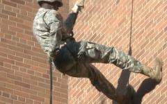 Army ROTC members rappel down Memorial Library