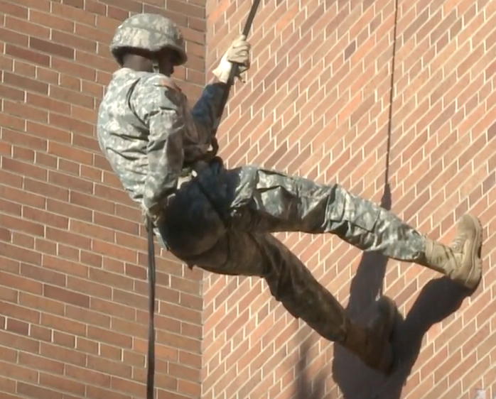 Army ROTC members rappel down Memorial Library