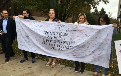 Protest voices disapproval of Marquette's transgender stance, igniting counter protest