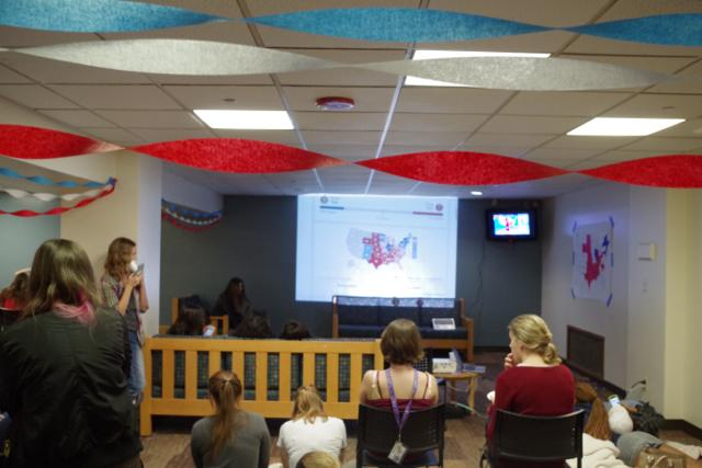 Viewing parties are patriotically decorated and full of new friendships.