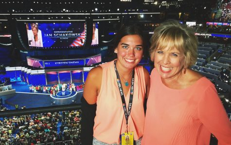 Colleen Ahern, a junior in the College of Arts and Sciences, poses at the Democratic national Convention. She is studying abroad in Rome.