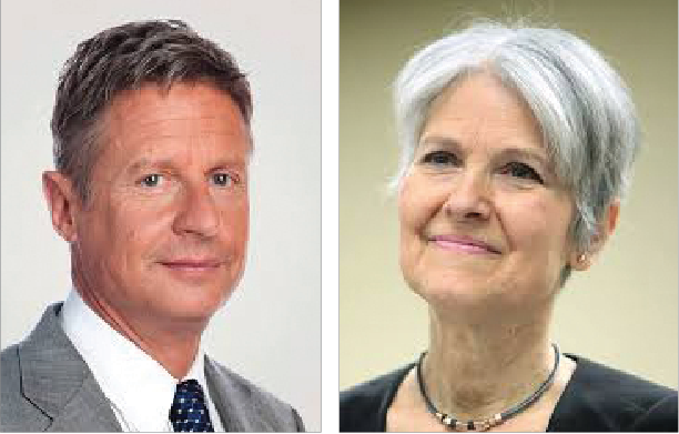 Libertarian presidential nominee Gary Johnson and Green Party nominee Jill Stein are two well-known third party candidates.