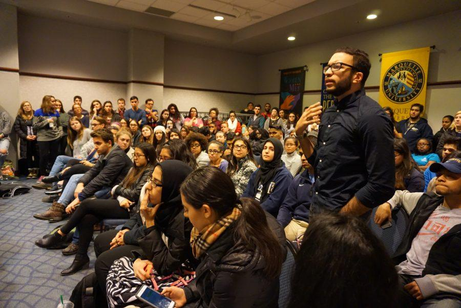 Students voice their opinions at an MUSG meeting after word spread that the some conservative students had drafted a recommendation designed to block the HSI initiative.