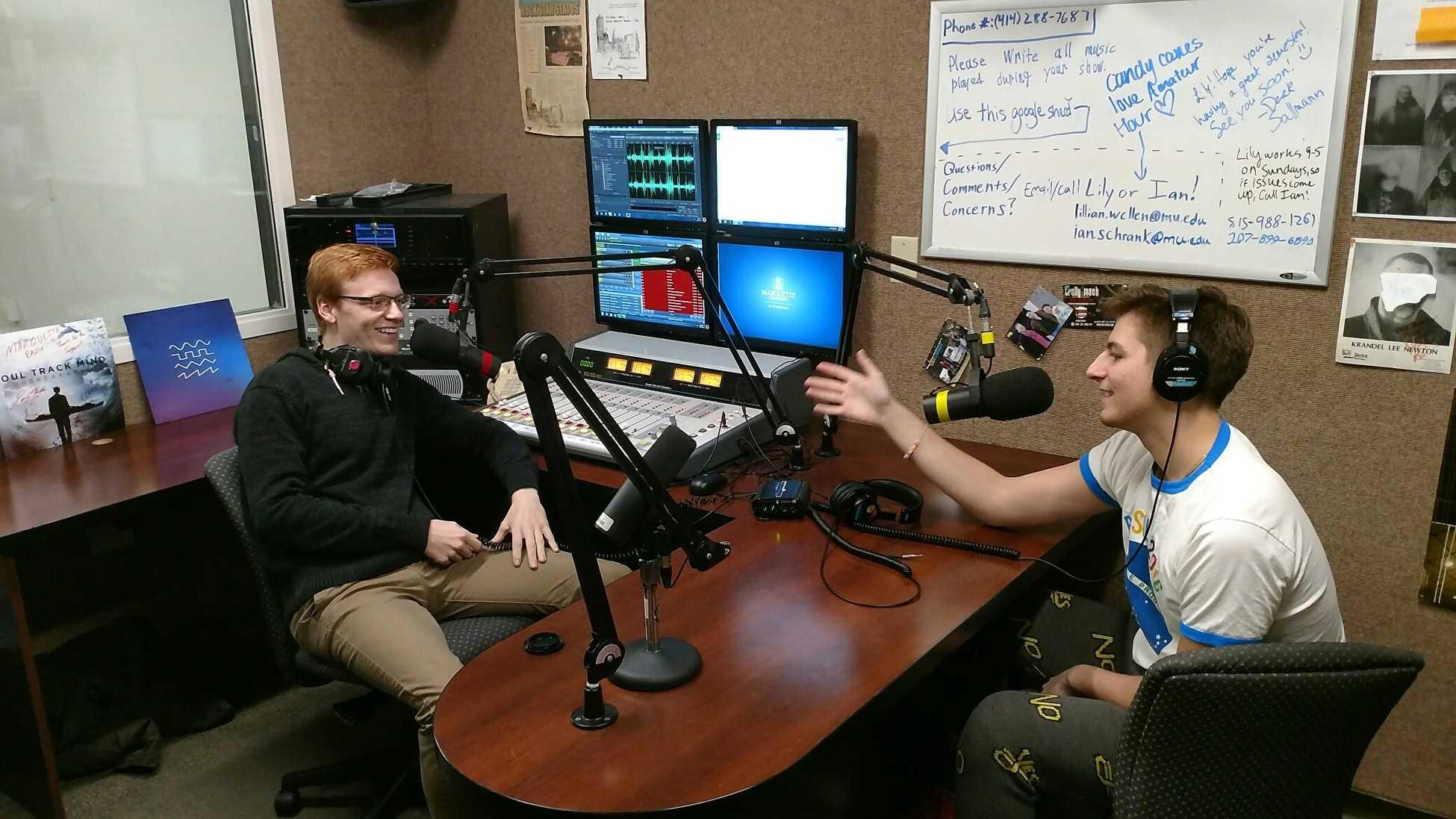 Spencer (left) and Chris in-studio