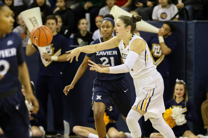 McKayla+Yentz+made+four+threes+in+Marquette%27s+loss+to+Providence.