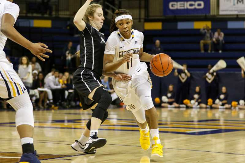 Allazia Blockton led Marquette with 18 points in its win against Providence.