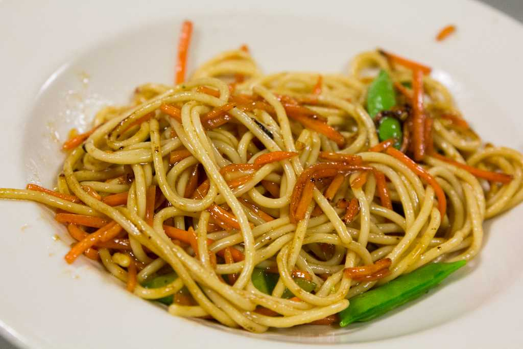 New menu options at Schroeder include the vegetable Lo-mein noodle bowl.