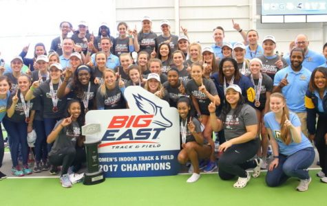Women's track celebrates its indoor championship Saturday.