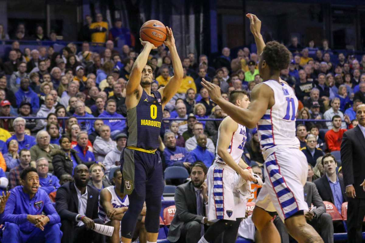 Markus Howard shoots a 3-pointer during Marquette's game against DePaul Saturday.
