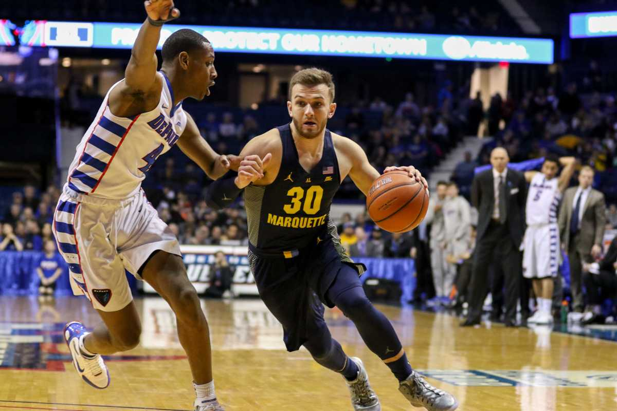 Andrew Rowsey scored 22 points against DePaul Saturday.
