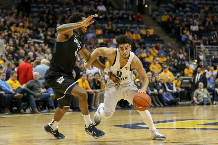 Markus Howard scored 19 points but had five shots blocked against Butler Tuesday.