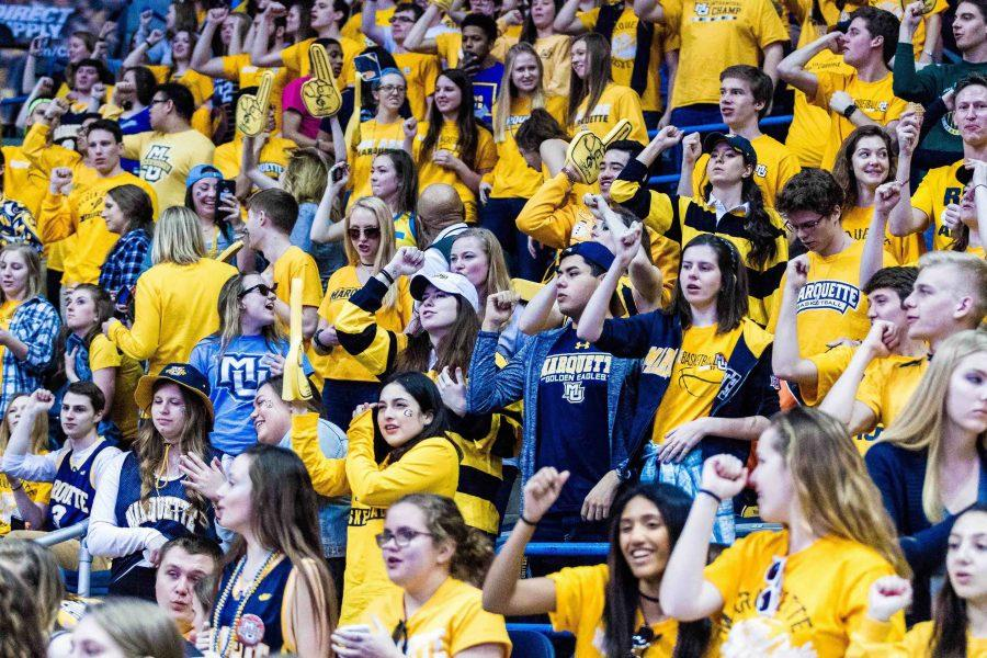 During National Marquette Day, students in the BMO Harris Bradley Center chanted vulgar remarks as the Marquette Golden Eagles battled the Xavier Musketeers.