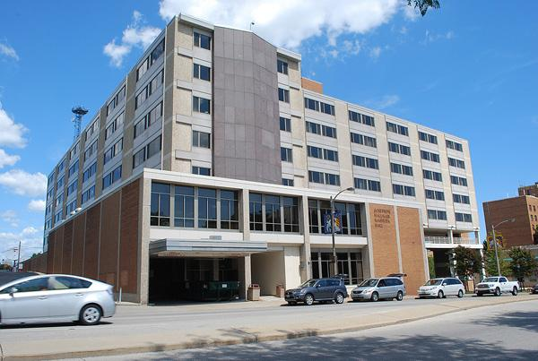Mashuda Hall is one residence hall open during Christmas break.