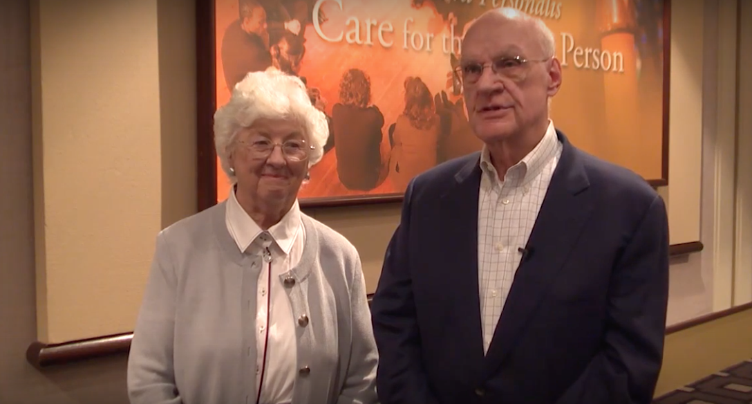 Pat (left) and Peter (right) Frechette donated the money responsible for the O'Brien Fellowship in Public Service Journalism. Photo via Marquette youtube page
