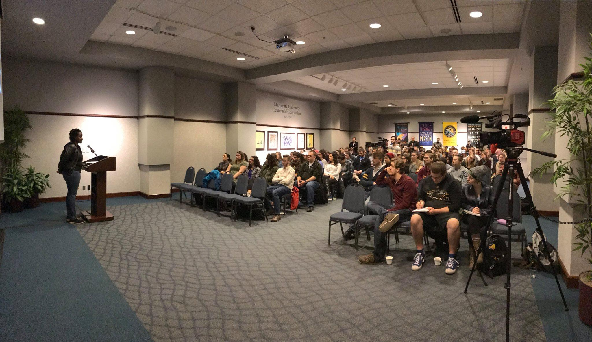 Clare Byarugaba came to visit Marquette's campus from Uganda to share her experiences as a LGBTQ+ activist. Photo via Marquette Democracy Facebook page