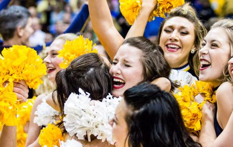 Cheerleaders celebrate after Marquette's upset of then-No. 1 Villanova.