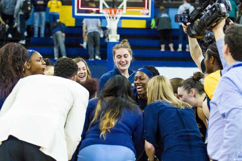 Women%27s+basketball+celebrates+after+their+semifinal+victory+against+Creighton.