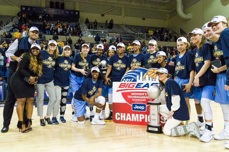 Women%27s+basketball+celebrates+following+their+BIG+EAST+championship+in+March.